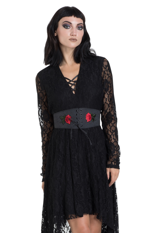 Black Denim & Rose Belt