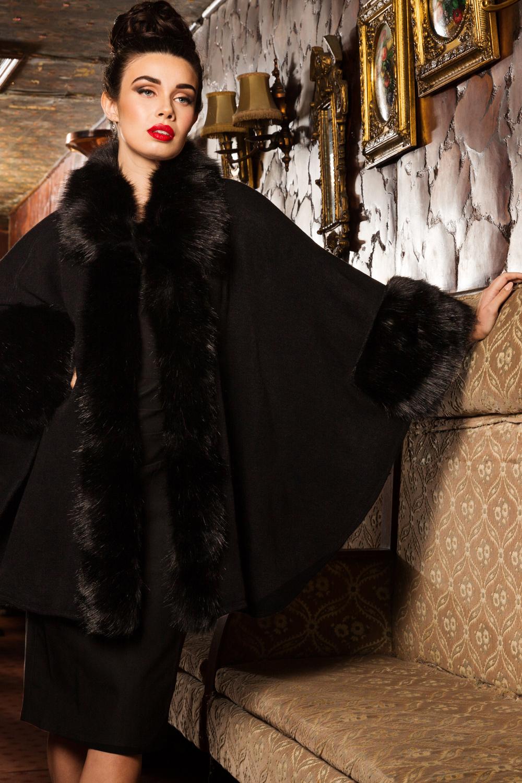 Agatha Faux Fur Cape
