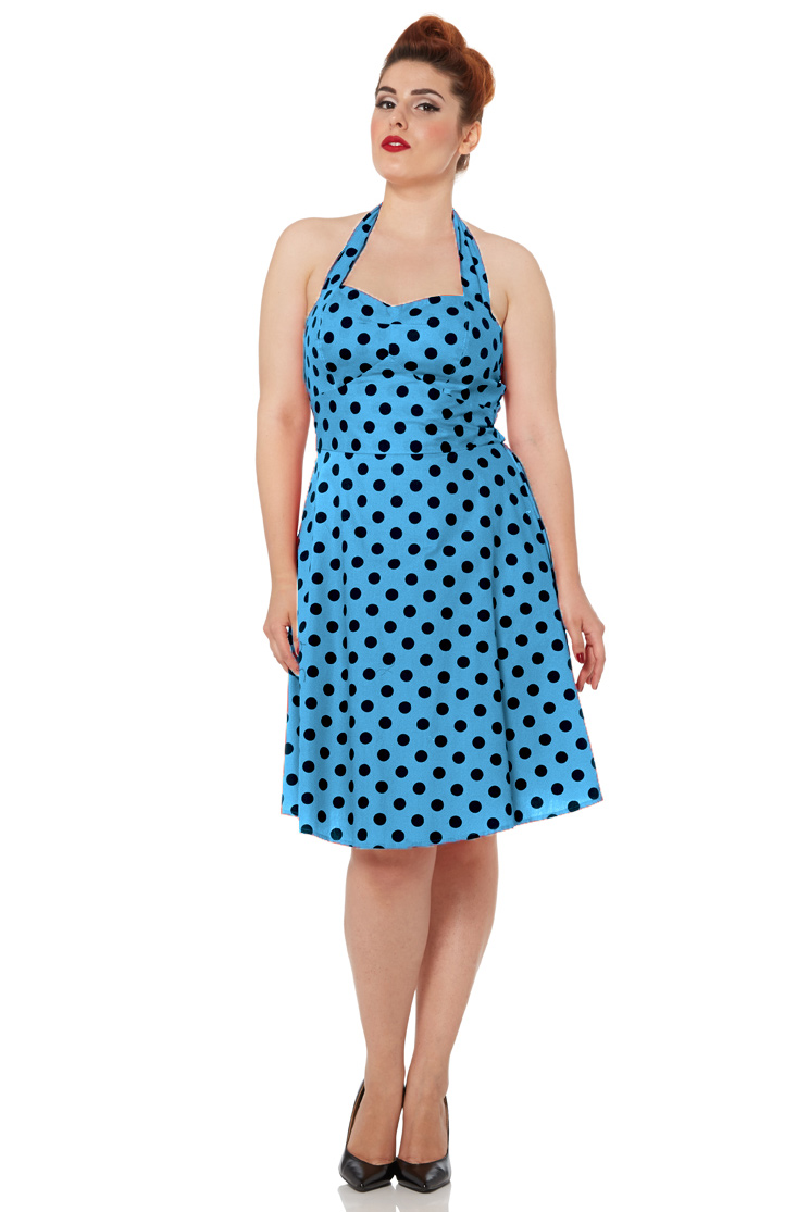 Millie Blue Polka Dot Halterneck Dress