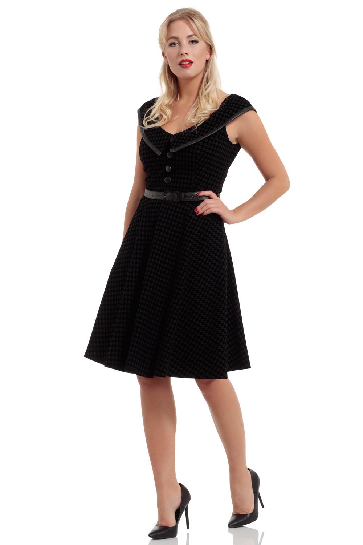 Charleigh Flocked Houndstooth Midi Dress