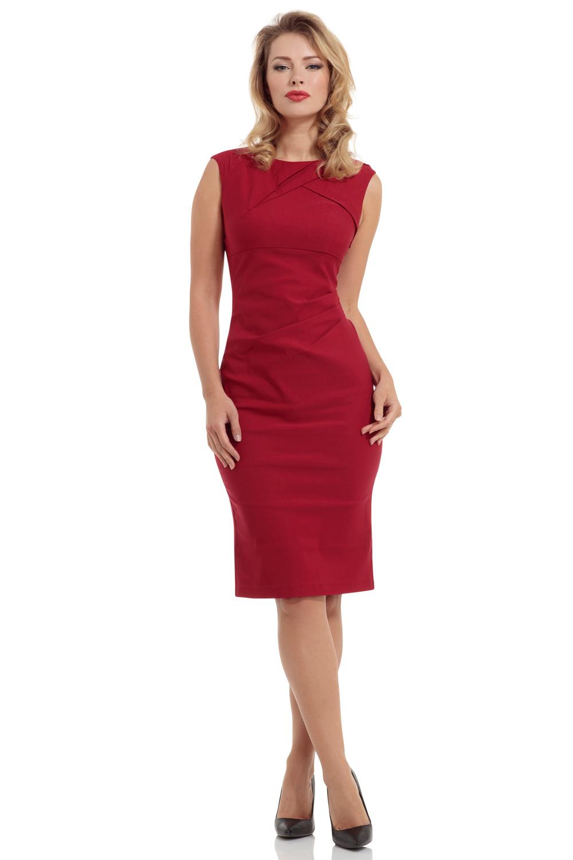 Claudette Ruche Red Pencil Dress