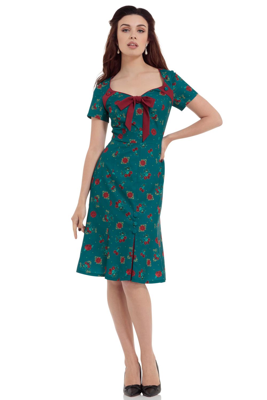 Cherry Teal Dipped Hem Midi Dress