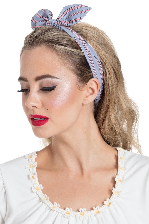 Striped Bow Headband Grey