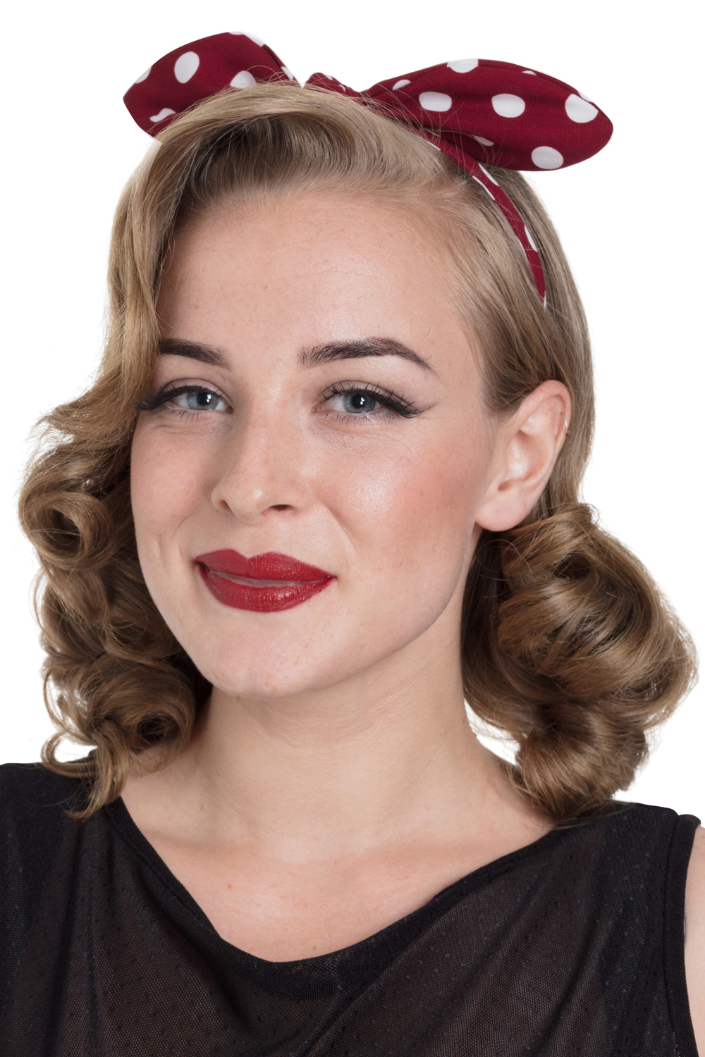 Structured Bow Headband in Red Polka Dot