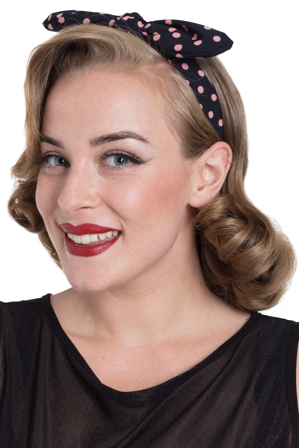 Structured Bow Headband in Pink Polka Dot